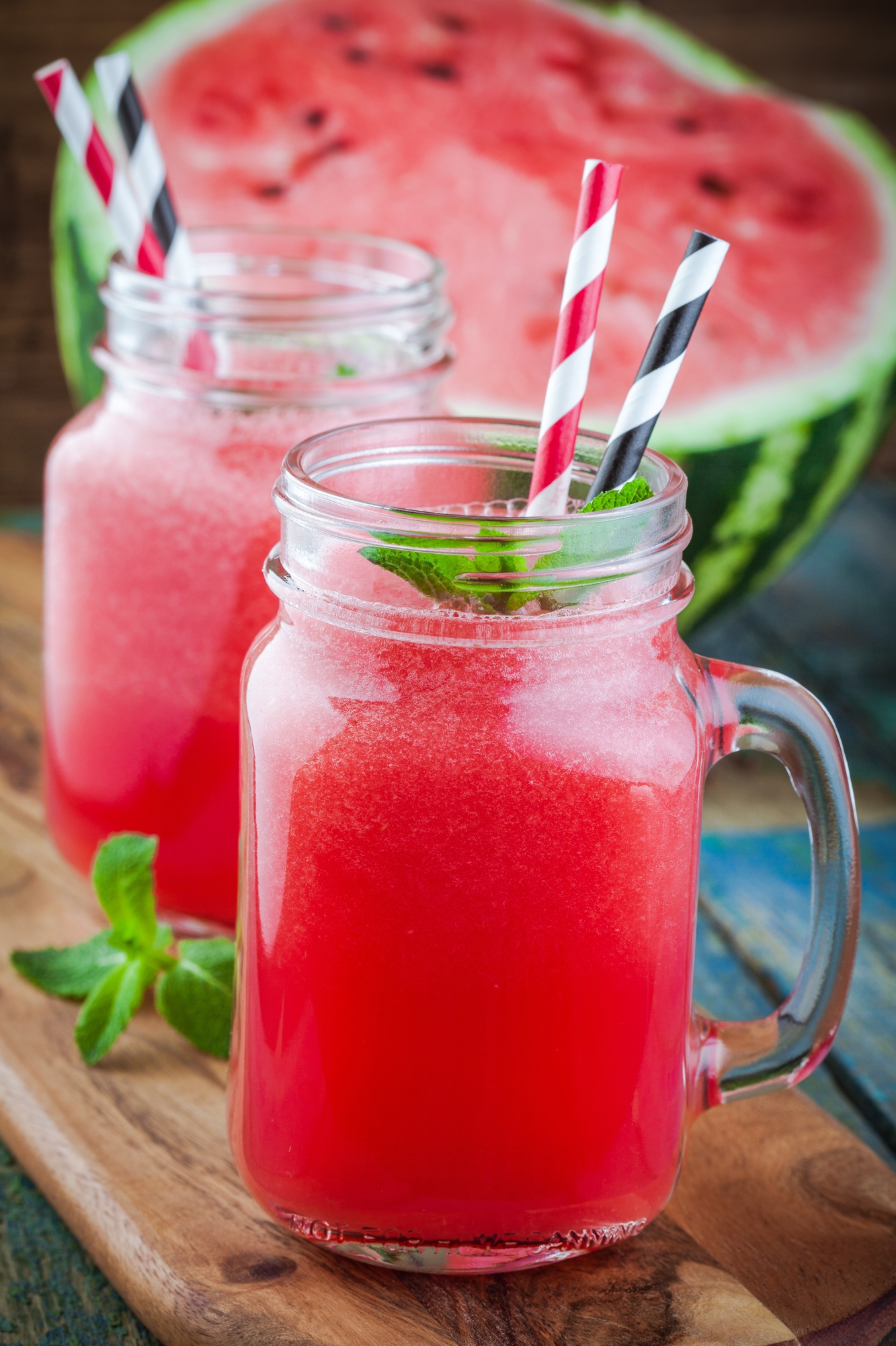 Watermelon Moonshine in Mason Jar