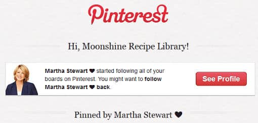 Martha Stewart follows Moonshinerecipe.org on Pinterest