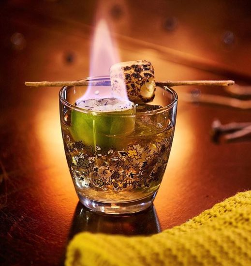 Bourbon Cocktails With Toasted Marshmallow Campfire Salt
