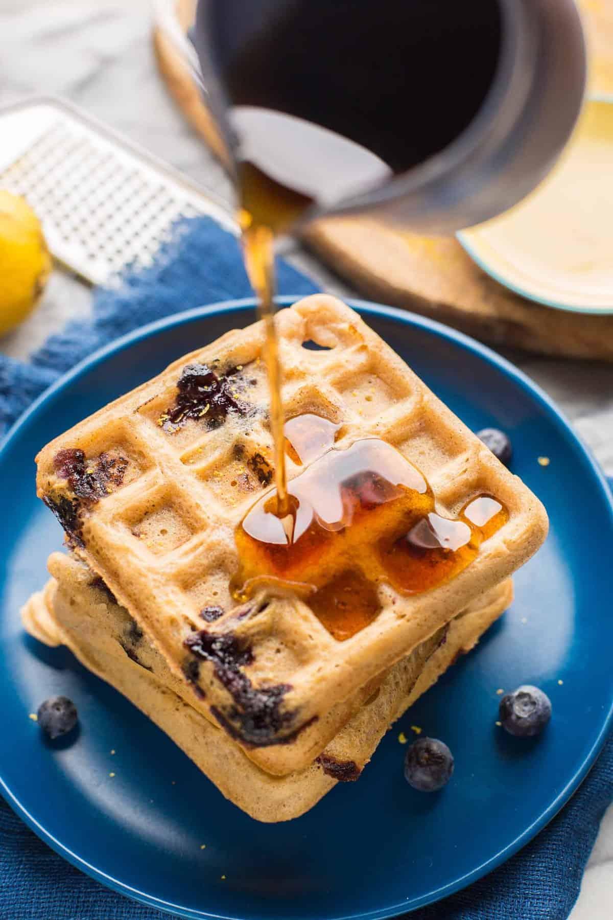 Gluten Free Blueberry Waffles - A Saucy Kitchen