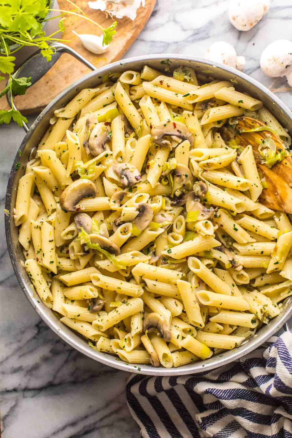 Leek and Mushroom Pasta - A Saucy Kitchen